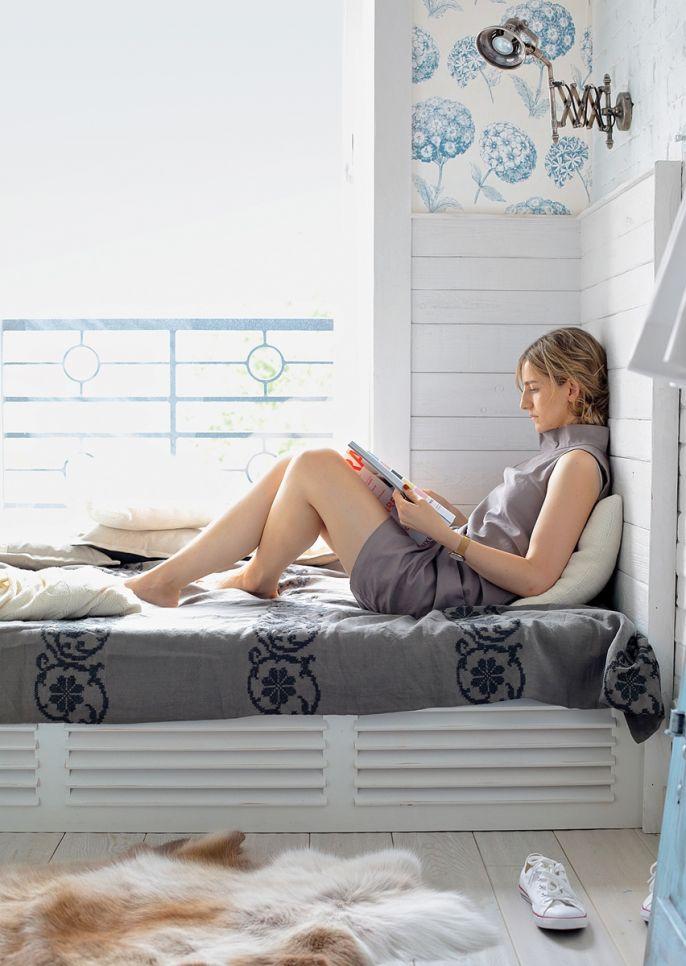 kącik do czytania przy oknie