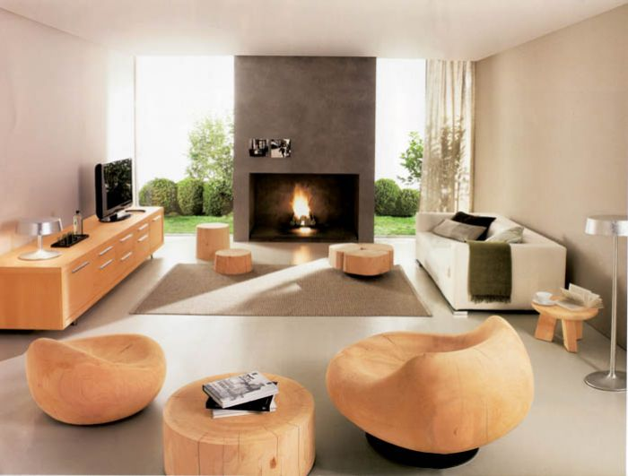 drewniane meble w salonie