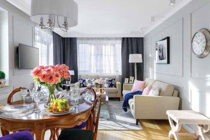 małe mieszkanie w stylach nowojorskim i hamptons