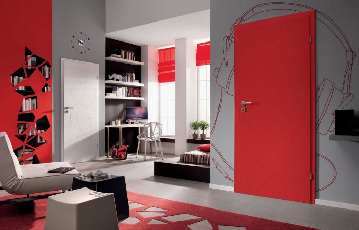 drzwi wewnętrzne czerwone