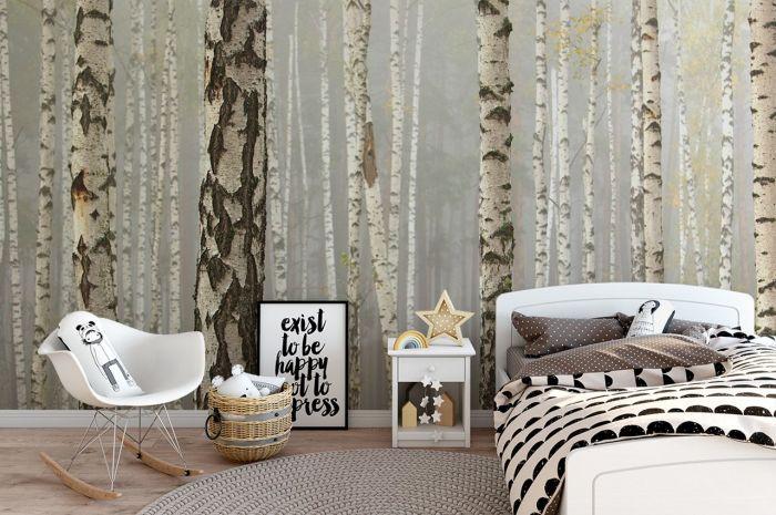 tapeta z motywem drzew w sypialni