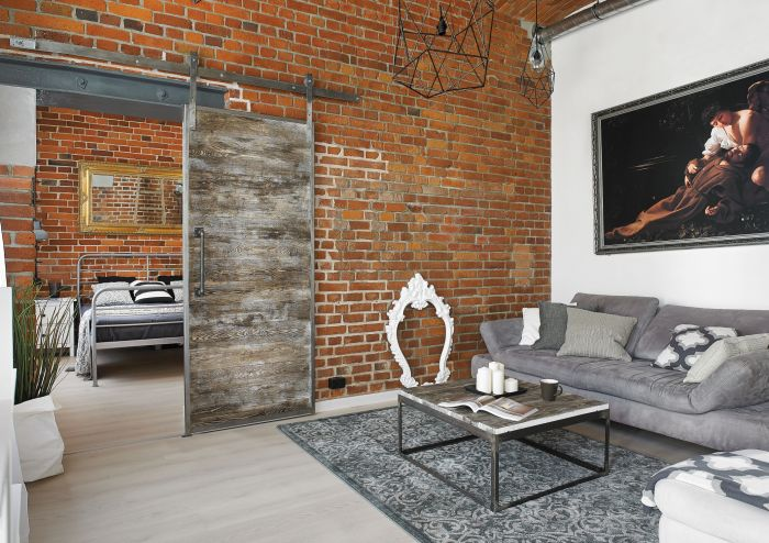 nowoczesne wnętrze salon cegła