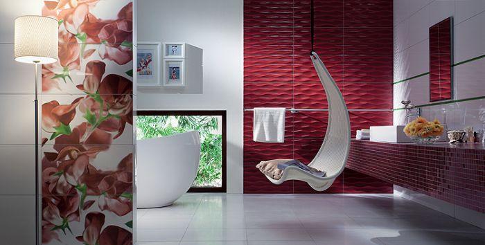 Na fali są rozmaite relaksujące siedziska, a także płytki imitujące falującą wodę, 119,93 zł/m², Tubądzin