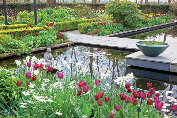 Wiosna nad stawem – ogród pełen tulipanów