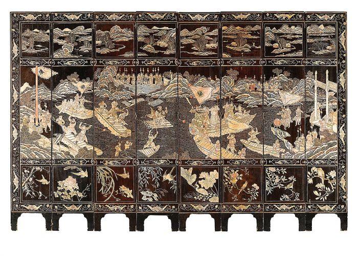 Ośmioskrzydłowy zdobiony laką, XIX w., Chiny