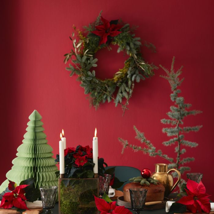 dekoracja stołu z gwiazdą betlejemską
