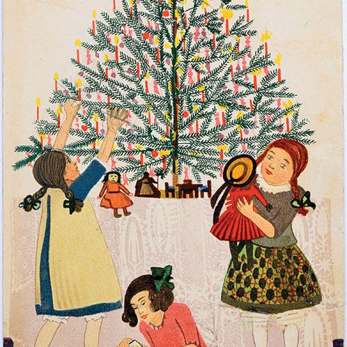 Pocztówka bożonarodzeniowa sygnowana, proj. Mela Koehler, Wiener Werkstatte, Wiedeń, 1908
