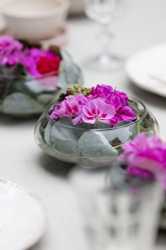 dekoracje na stół z pelargonii