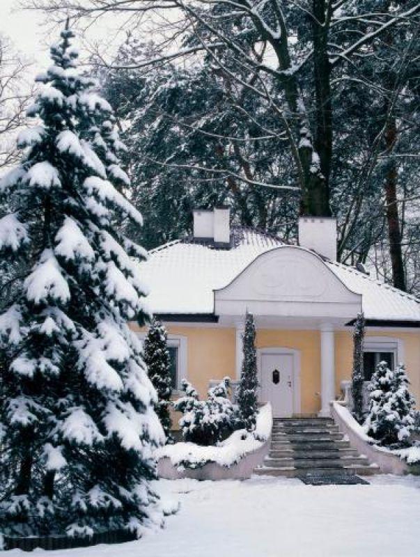 Dworek otoczony zaśnieżonymi drzewami.