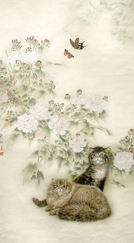 Kocie zabawy , Guo Songlian, praca współczesna, Muzeum Narodowe we Wrocławiu