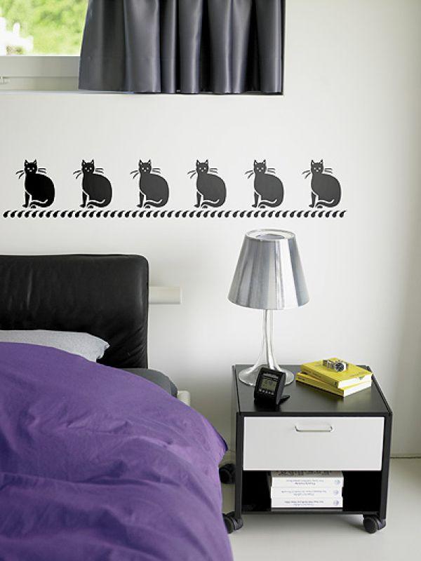 Koty na ścianie. Kot na ścianę - szablon do malowania