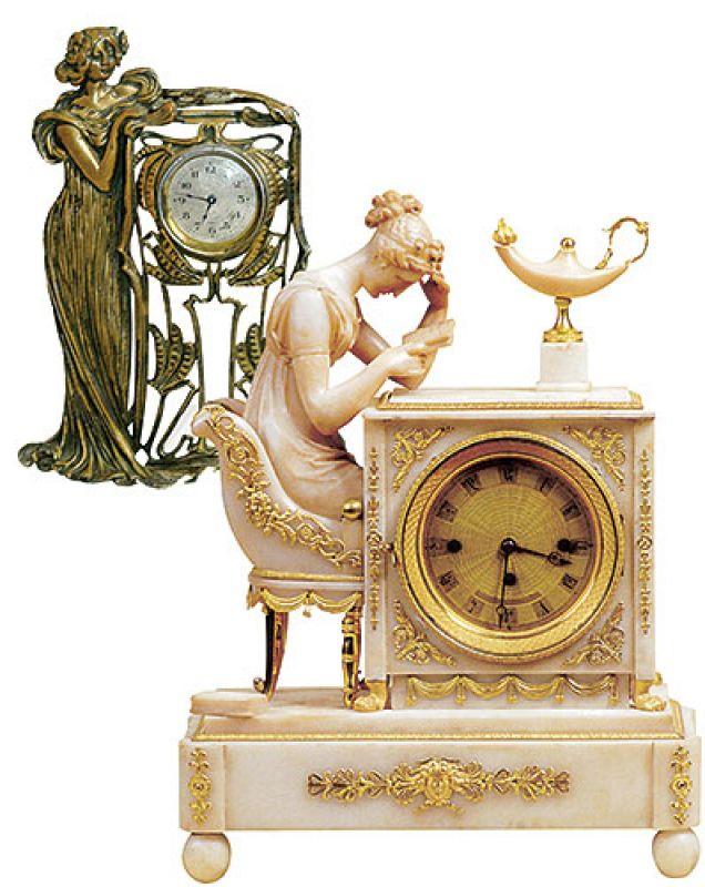Zegar stojący w secesyjnej stylizowanej obudowie estymacja 2250-2750 zł, Rempex. Alabastrowy zegar kominkowy, Francja,