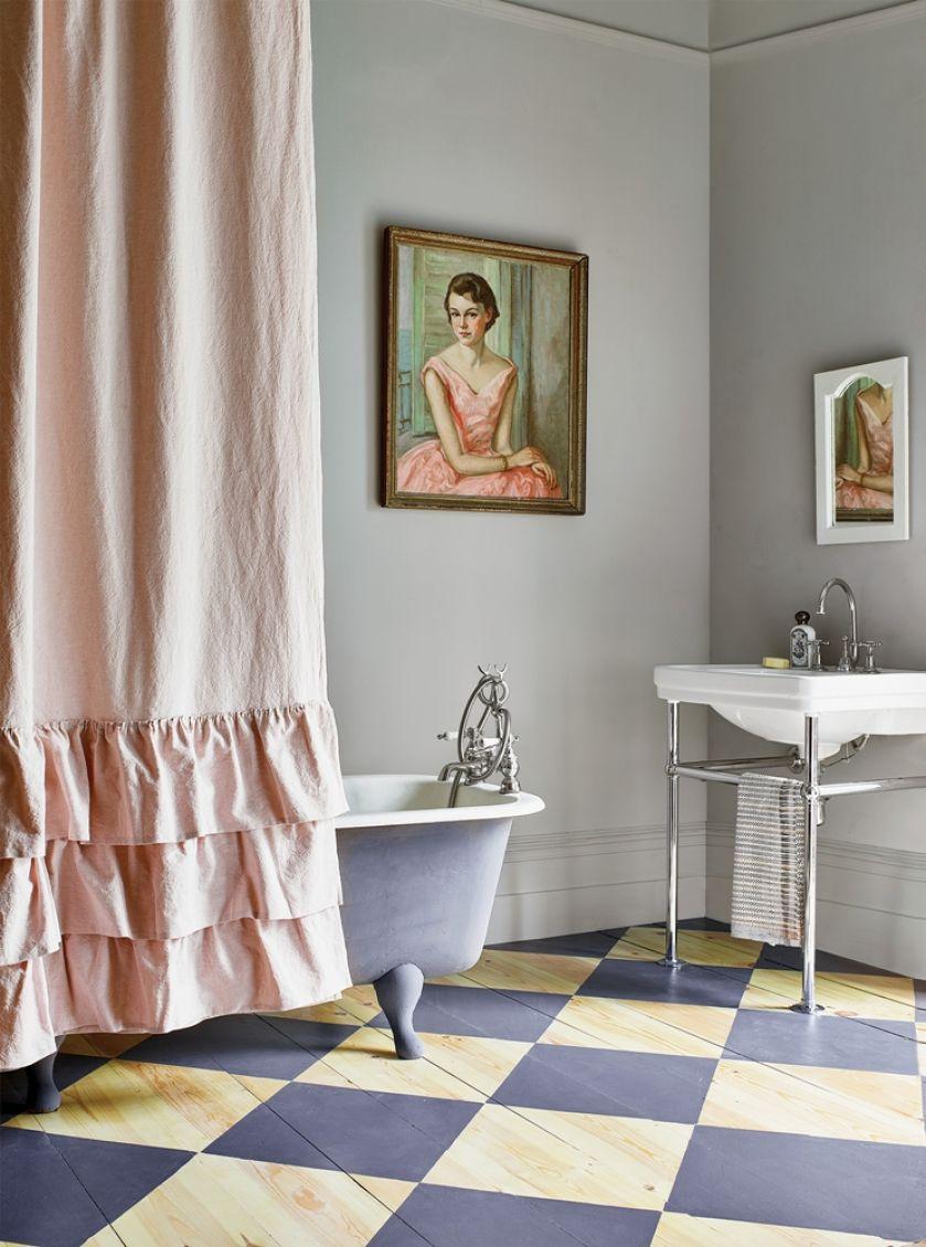 fioletowa łazienka aranżacja