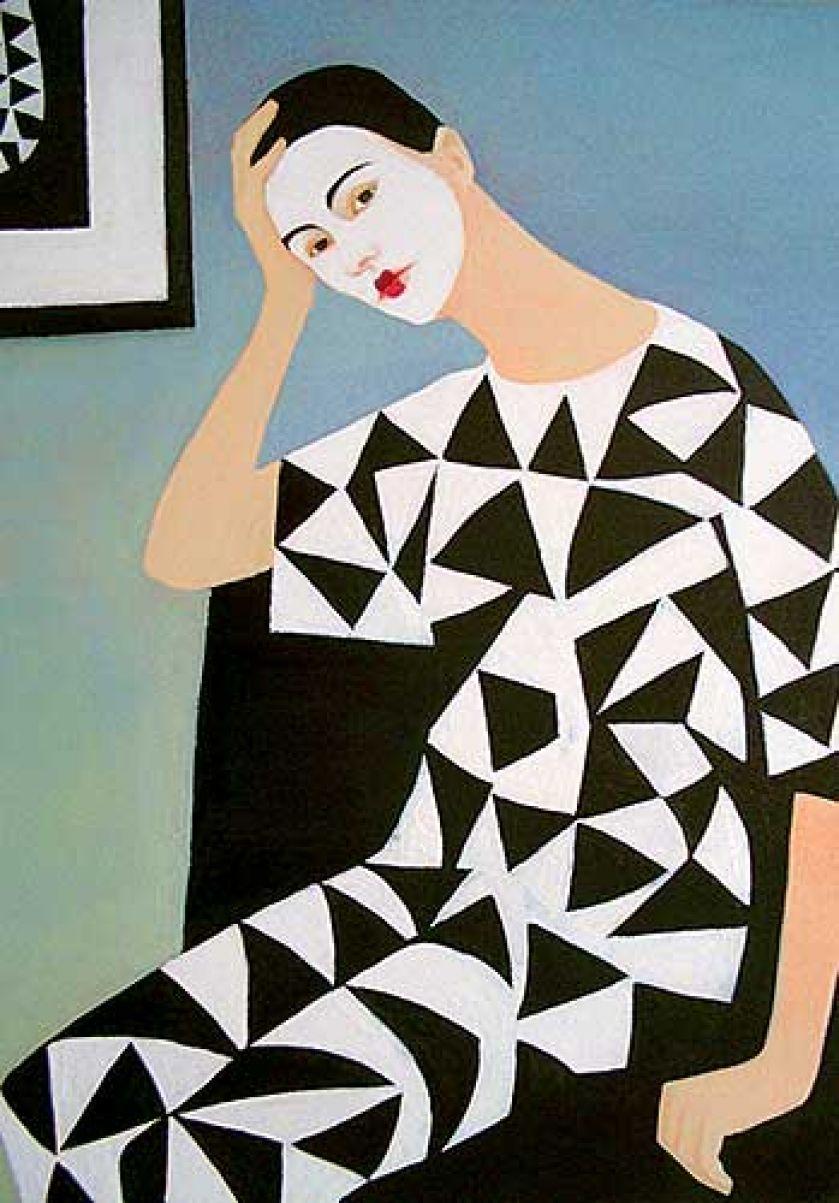 Katarzyna Jędrysik-Castellini Autoportret w stroju arlekina , 2002 r.