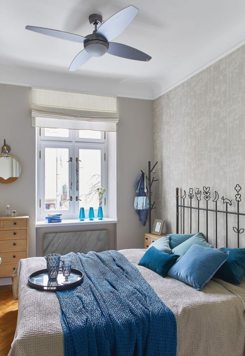 niebieska sypialnia aranżacja
