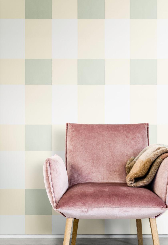 miętowa ściana w salonie