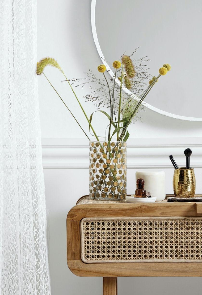 wazon szklany w złote kropki