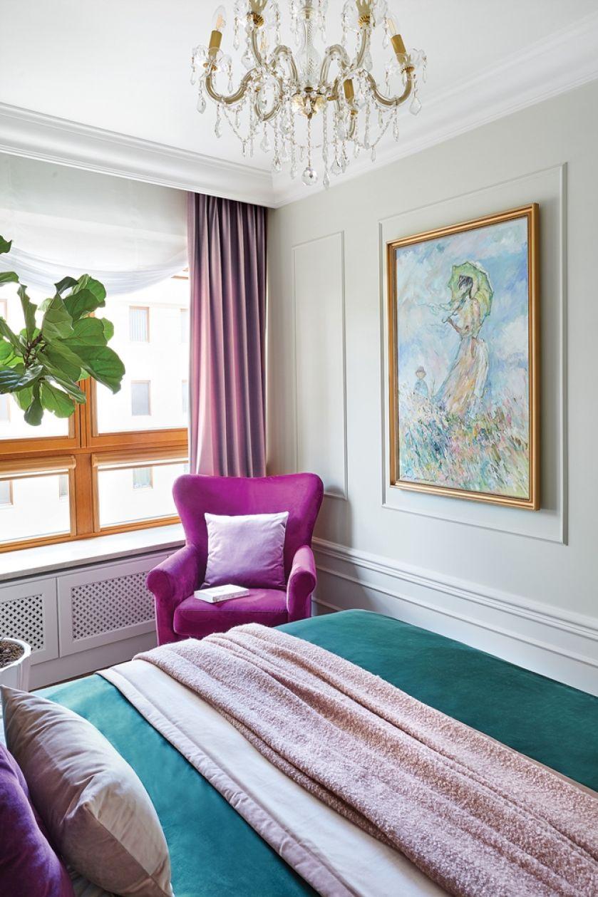 sypialnia butelkowa zieleń fiolet i pudrowy róż