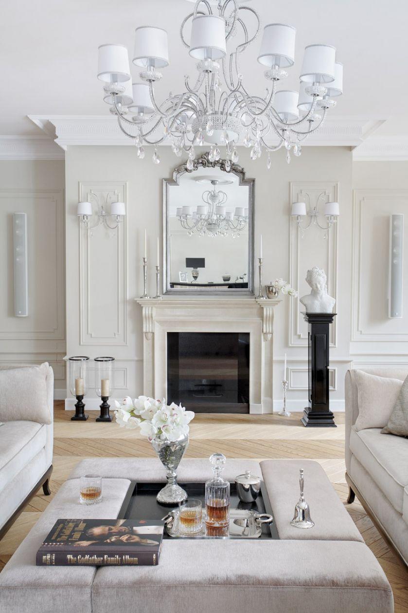 salon z kominkiem w stylu francuskim aranżacje