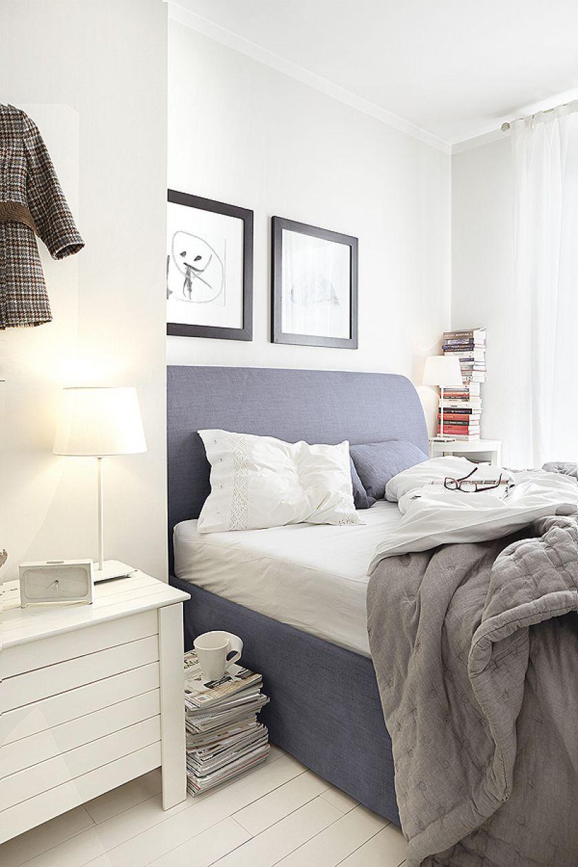 szara sypialnia w stylu skandynawskim