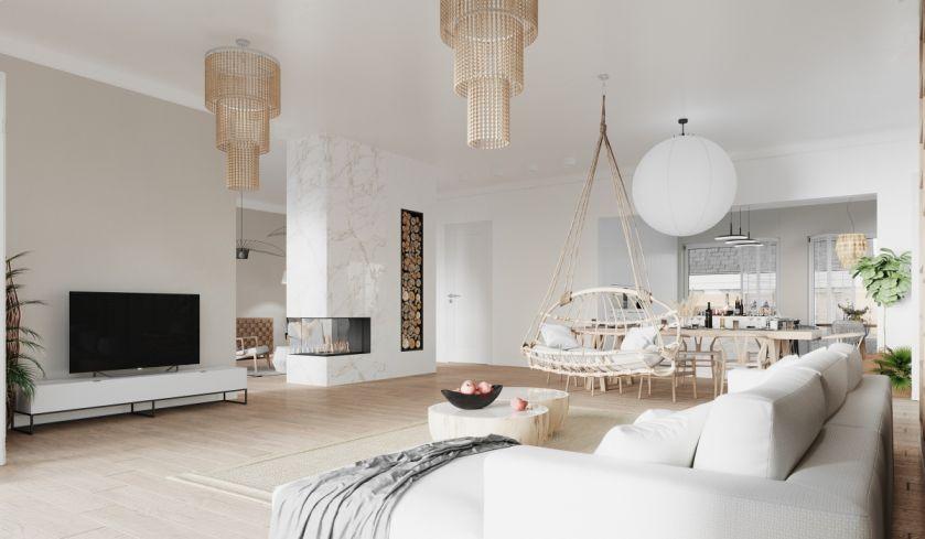 biały salon styl nowoczesny i boho