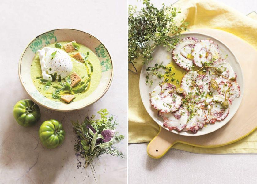 Zielone gazpacho z bazylią i burratą oraz carpaccio z ośmiornicy