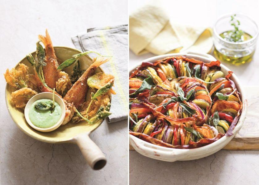 kuchnia śródziemnomorska - smażone rybki i warzywny tian