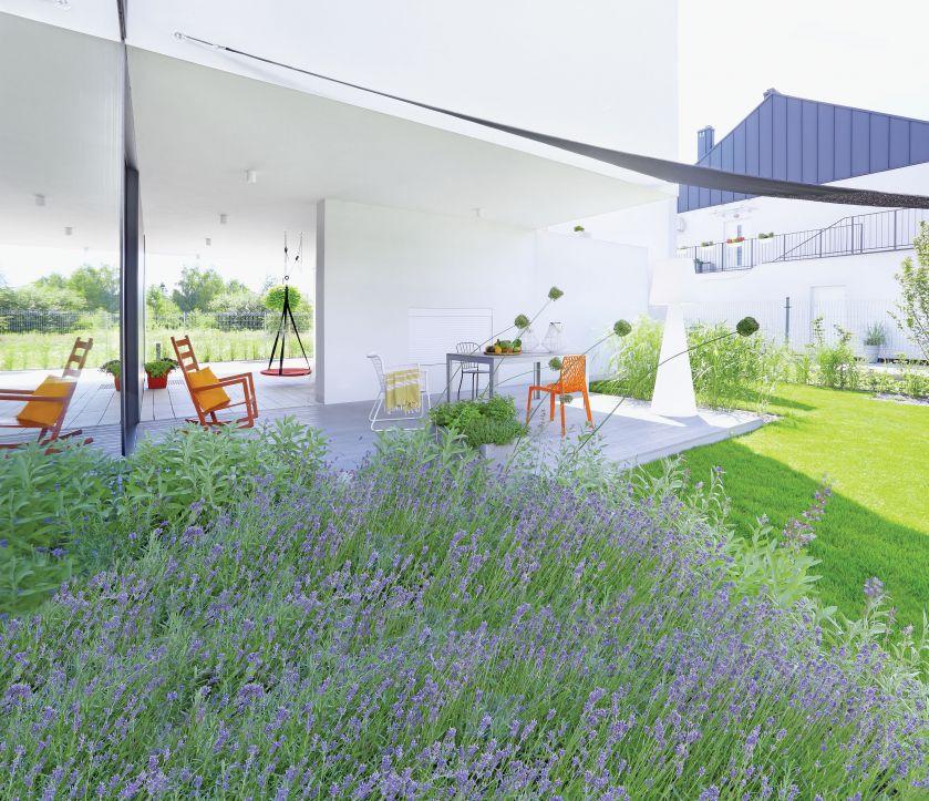 dom nowoczesny ogród i taras