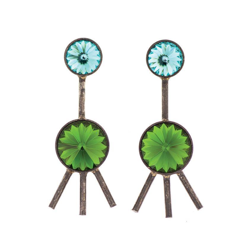 Dekoracyjne kolczyki z kryształami Swarovskiego wykonane ze złoconego mosiądzu, 10 Decoart