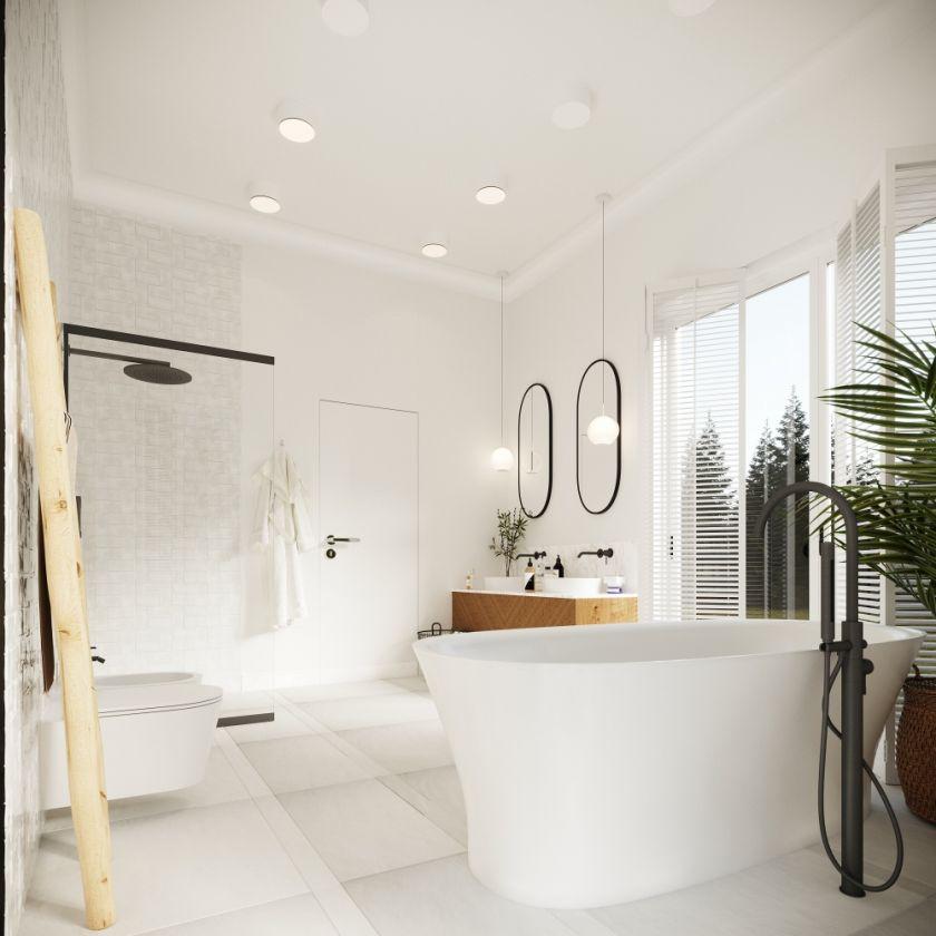 aranżacja białej łazienki z drewnem