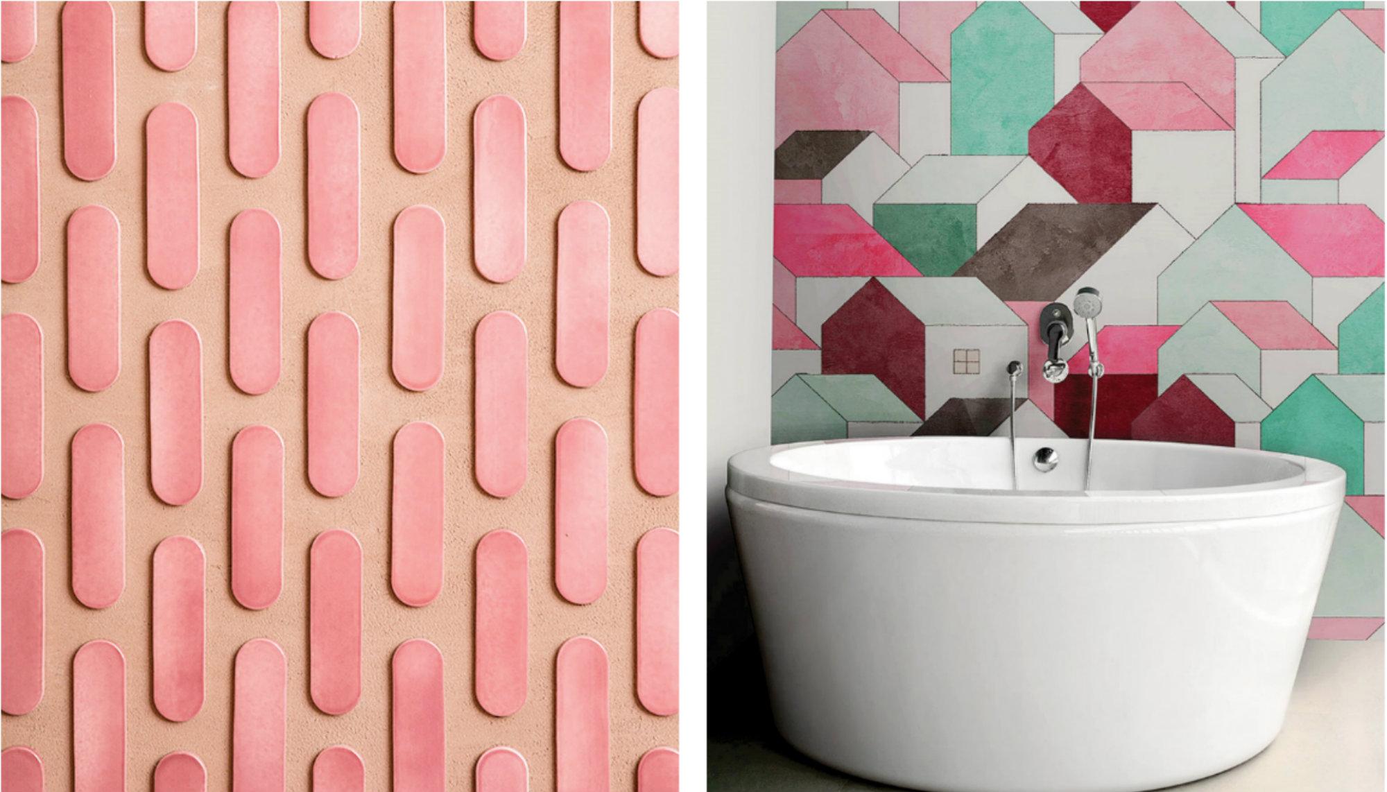 Kolorowe tapety do łazienki